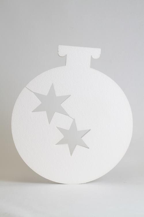 Kerstbal met 2 sterren uitsparing, verschillende afmetingen