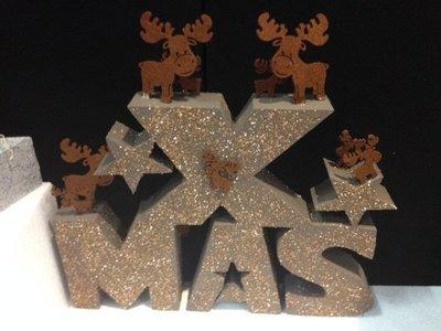 X-MAS tekst breedte 35 cm, dikte 3 cm