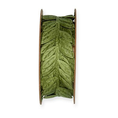 Satijn Band Blaadjes, Groen, 23mm x 5 meter