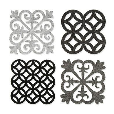 Vilt Tegeltjes, Grijs/Licht Grijs/Zwart/antraciet, 4 st. per verpakking