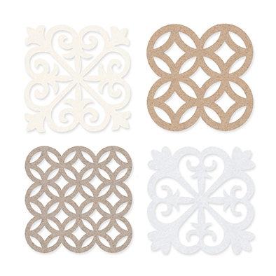 Vilt Tegeltjes, Wit/Beige/Crème/Linnen, 4 st. per verpakking