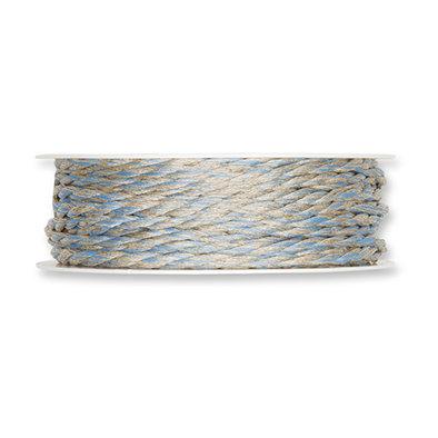 Koord, Linnen/Blauw, 4mm x 18 meter