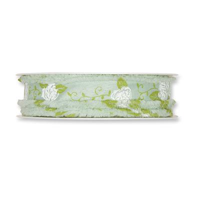 Lint Rozen, Mint/Wit/Groen, 18mm x 20 meter