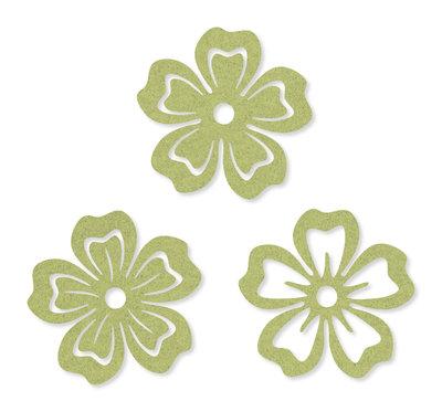 Vilt decoratie Bloemetjes Pale Green